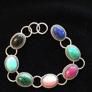 Bracelet. Sterling silver, multi-stones